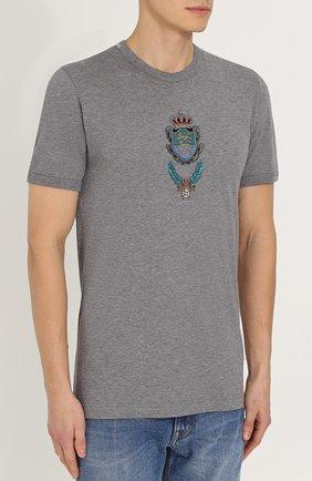Хлопковая футболка с вышивкой Dolce & Gabbana серая   Фото №3
