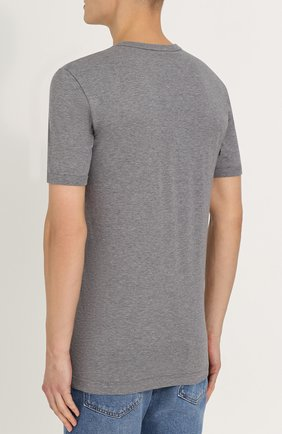 Хлопковая футболка с вышивкой Dolce & Gabbana серая   Фото №4