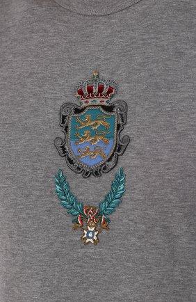 Хлопковая футболка с вышивкой Dolce & Gabbana серая   Фото №5