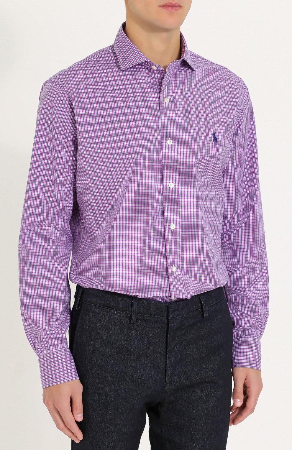 aeae9b2bc1e Мужская фиолетовая хлопковая рубашка в клетку POLO RALPH LAUREN ...