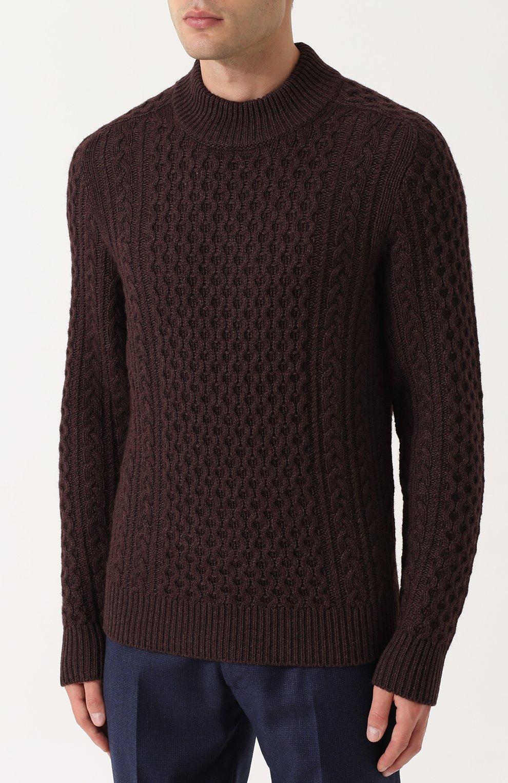Джемпер фактурной вязки из смеси шерсти и кашемира с шелком   Фото №3