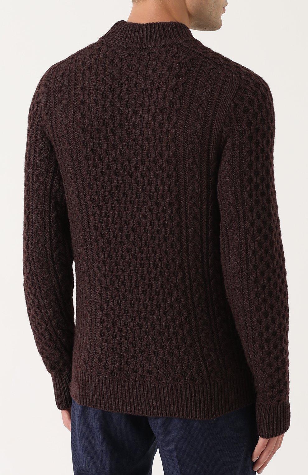 Джемпер фактурной вязки из смеси шерсти и кашемира с шелком   Фото №4