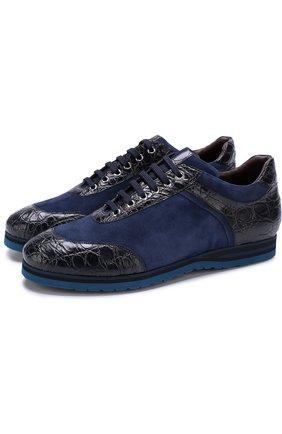 Замшевые кроссовки на шнуровке с отделкой из кожи каймана   Фото №1