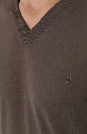 Пуловер из шерсти тонкой вязки | Фото №5