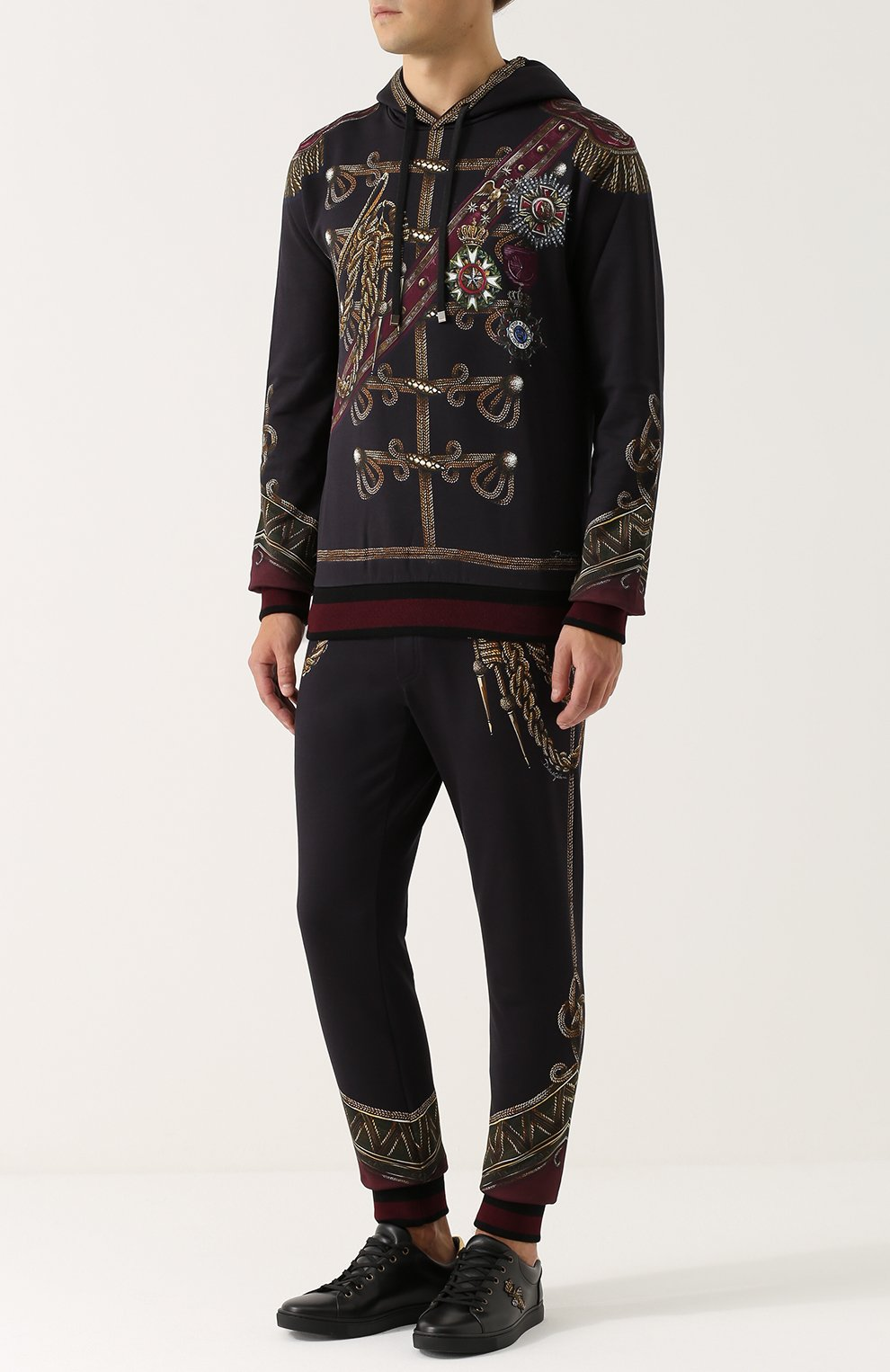 Хлопковые джоггеры с принтом Dolce & Gabbana темно-синие | Фото №2