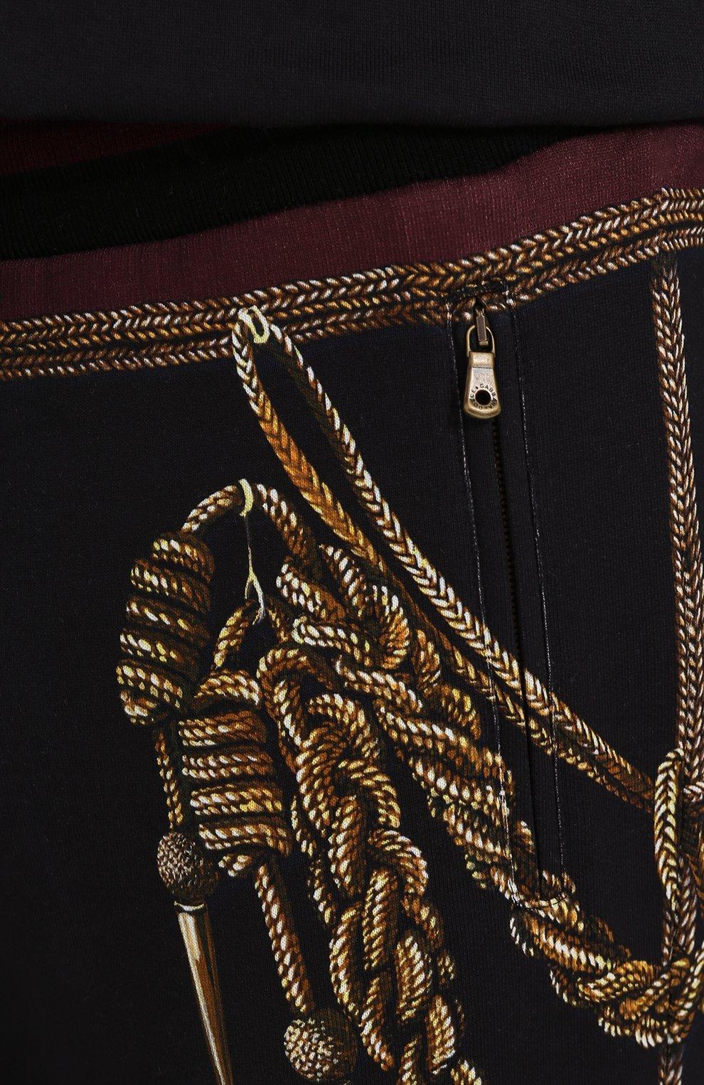 Хлопковые джоггеры с принтом Dolce & Gabbana темно-синие | Фото №5