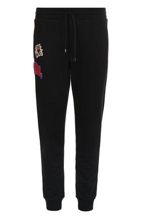 Хлопковые джоггеры с нашивками Dolce & Gabbana черные | Фото №1