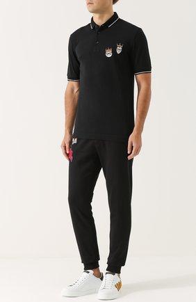 Хлопковые джоггеры с нашивками Dolce & Gabbana черные | Фото №2