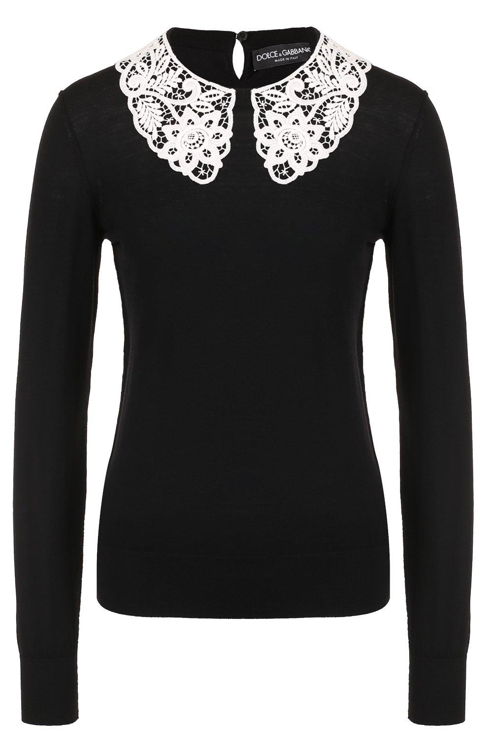Шерстяной пуловер с контрастным кружевным воротником | Фото №1