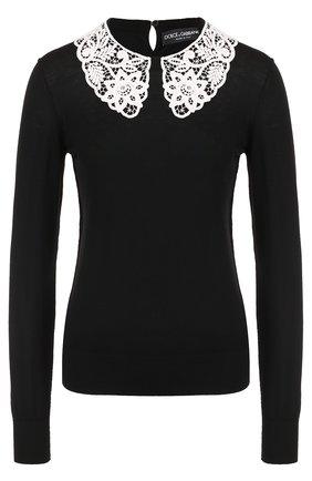 Шерстяной пуловер с контрастным кружевным воротником Dolce & Gabbana черный | Фото №1