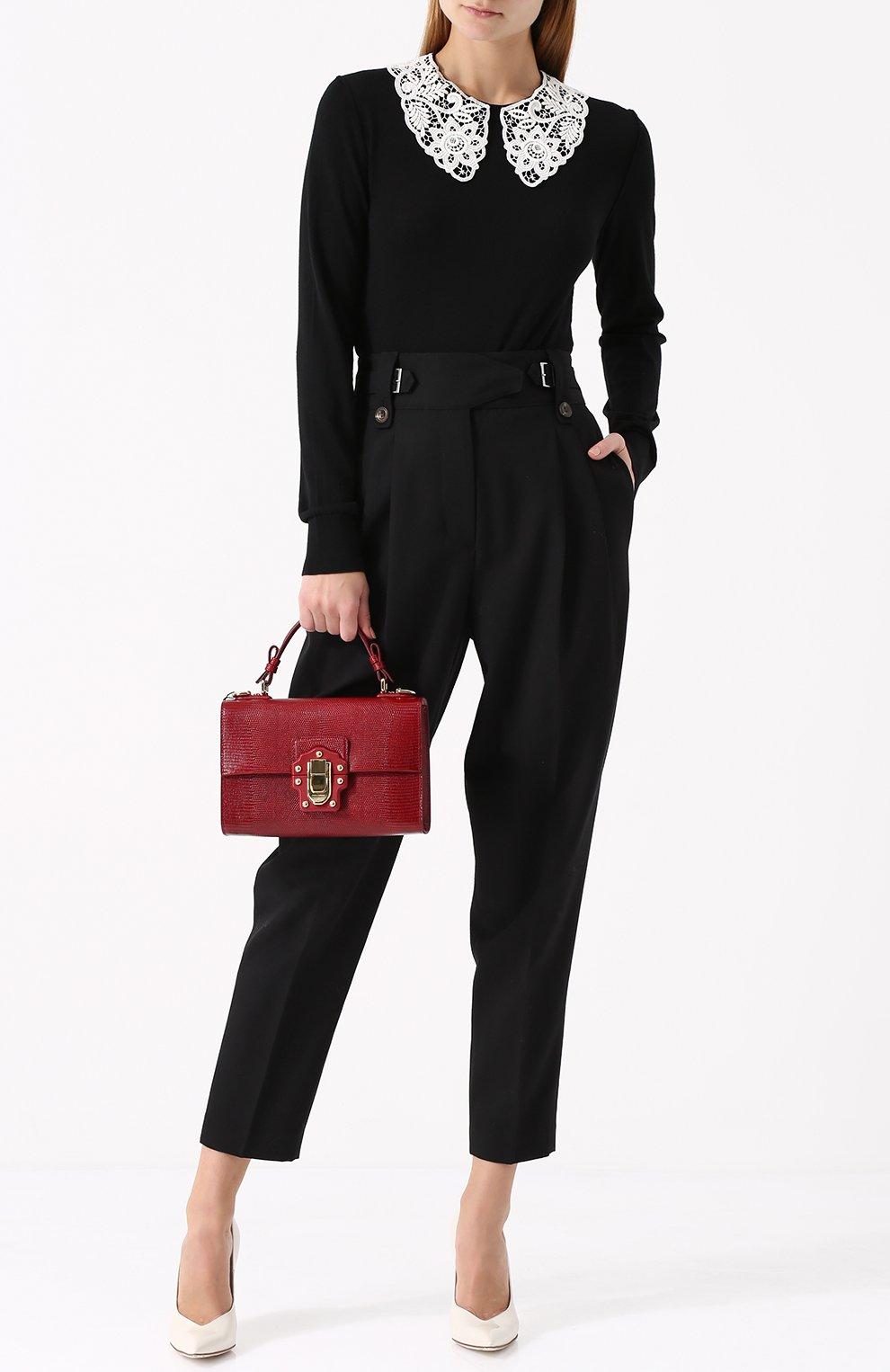 Шерстяной пуловер с контрастным кружевным воротником Dolce & Gabbana черный | Фото №2