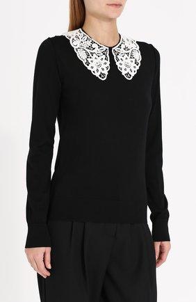 Шерстяной пуловер с контрастным кружевным воротником Dolce & Gabbana черный | Фото №3