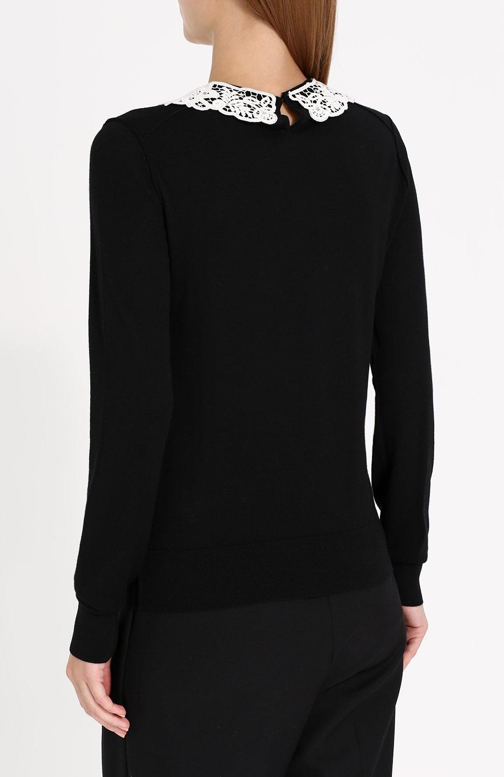 Шерстяной пуловер с контрастным кружевным воротником Dolce & Gabbana черный | Фото №4
