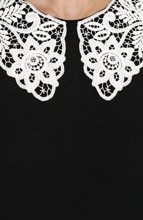 Шерстяной пуловер с контрастным кружевным воротником Dolce & Gabbana черный | Фото №5
