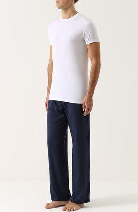 Мужские футболка из смеси хлопка и вискозы с круглым вырезом ZIMMERLI белого цвета, арт. 186-1421 | Фото 2