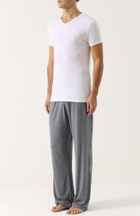 Мужские футболка из смеси хлопка и вискозы с v-образным вырезом ZIMMERLI белого цвета, арт. 186-1422 | Фото 2