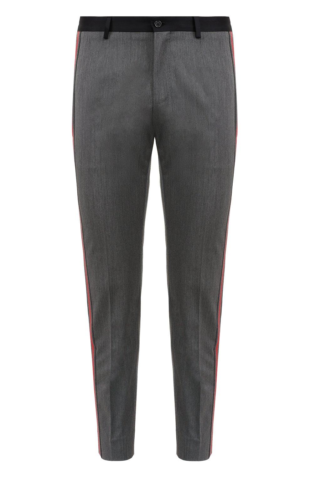 Укороченные брюки из смеси шерсти и хлопка с лампасами | Фото №1