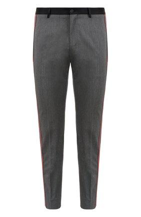 Укороченные брюки из смеси шерсти и хлопка с лампасами Dolce & Gabbana серые | Фото №1