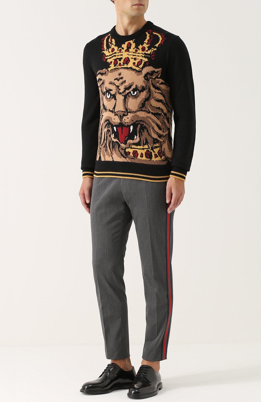Укороченные брюки из смеси шерсти и хлопка с лампасами Dolce & Gabbana серые | Фото №2