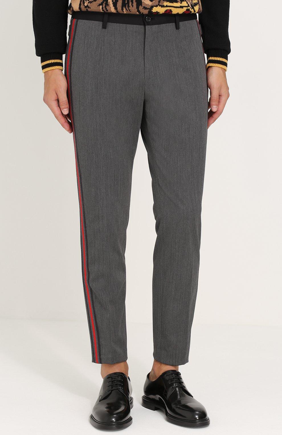 Укороченные брюки из смеси шерсти и хлопка с лампасами Dolce & Gabbana серые | Фото №3