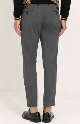 Укороченные брюки из смеси шерсти и хлопка с лампасами Dolce & Gabbana серые | Фото №4