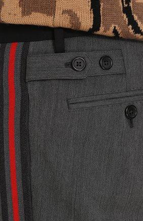 Укороченные брюки из смеси шерсти и хлопка с лампасами Dolce & Gabbana серые | Фото №5