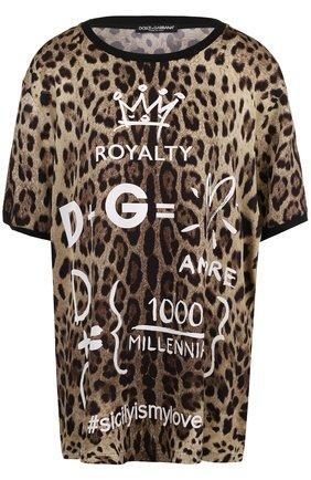 Шелковый топ свободного кроя с леопардовым принтом Dolce & Gabbana леопардовый   Фото №1