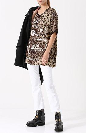 Шелковый топ свободного кроя с леопардовым принтом Dolce & Gabbana леопардовый   Фото №2