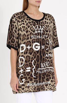 Шелковый топ свободного кроя с леопардовым принтом Dolce & Gabbana леопардовый   Фото №3