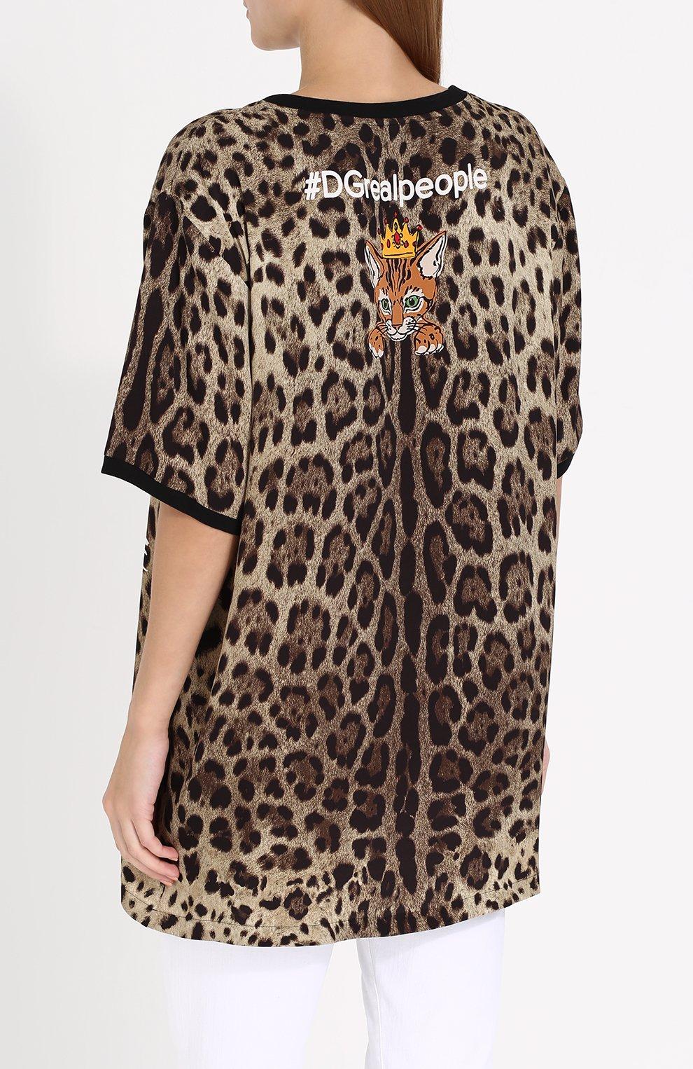 Шелковый топ свободного кроя с леопардовым принтом Dolce & Gabbana леопардовый   Фото №4