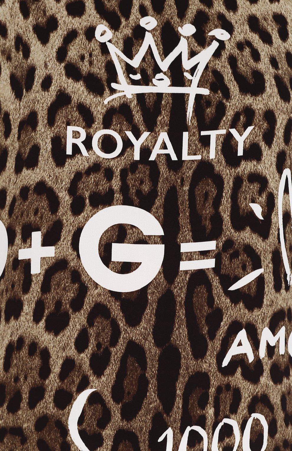 Шелковый топ свободного кроя с леопардовым принтом Dolce & Gabbana леопардовый   Фото №5