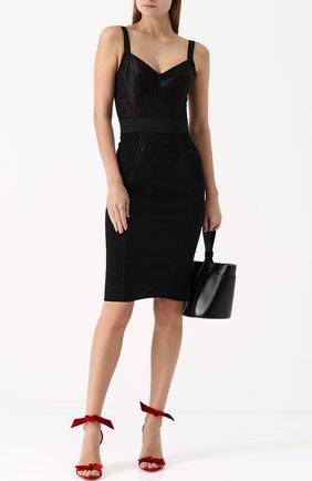 Платье-футляр с широкими лямками Dolce & Gabbana черное | Фото №2