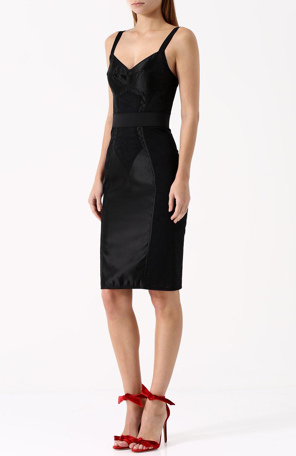 Платье-футляр с широкими лямками Dolce & Gabbana черное | Фото №3