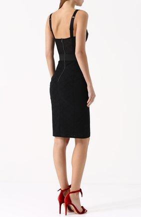 Платье-футляр с широкими лямками Dolce & Gabbana черное | Фото №4