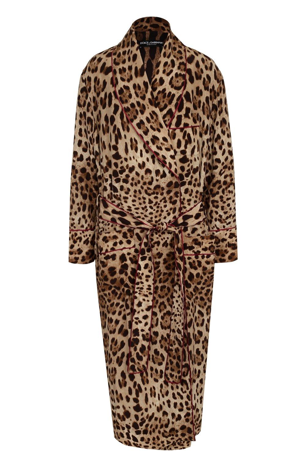 Шелковое пальто с леопардовым принтом и поясом   Фото №1