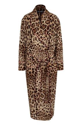 Шелковое пальто с леопардовым принтом и поясом | Фото №1