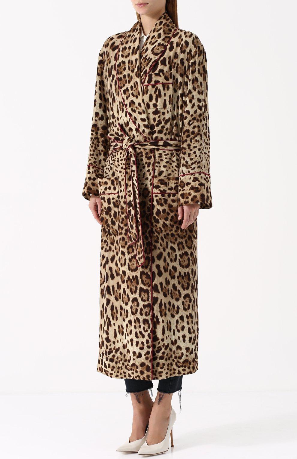 Шелковое пальто с леопардовым принтом и поясом Dolce & Gabbana леопардового цвета   Фото №3