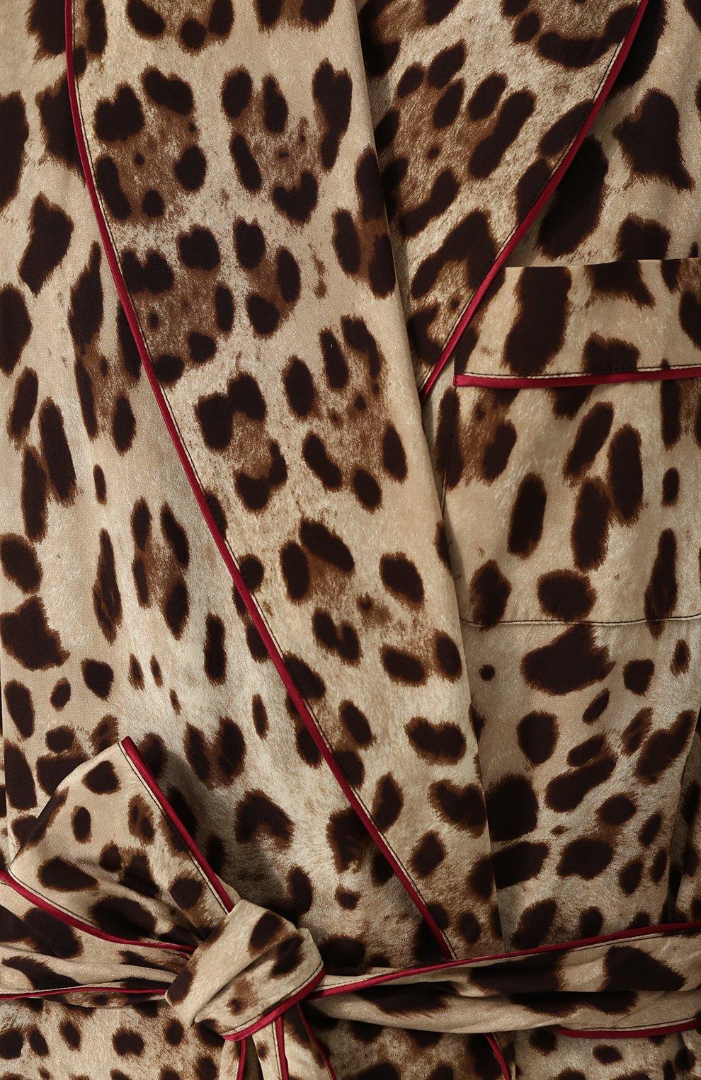 Шелковое пальто с леопардовым принтом и поясом Dolce & Gabbana леопардового цвета   Фото №5