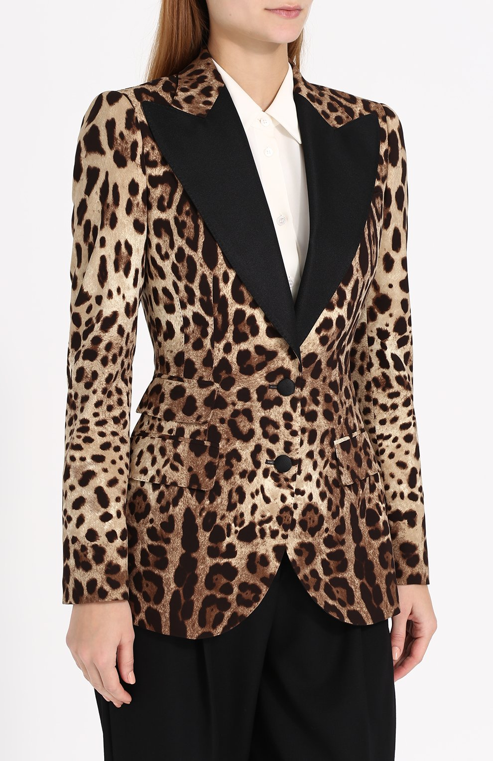 Приталенный жакет с леопардовым принтом | Фото №3