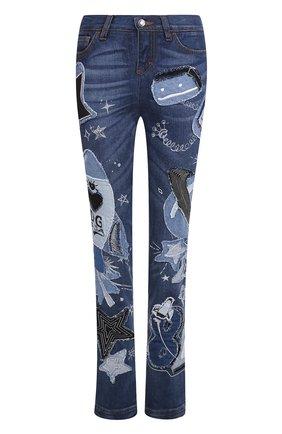 Джинсы прямого кроя с декоративной отделкой Dolce & Gabbana синие | Фото №1