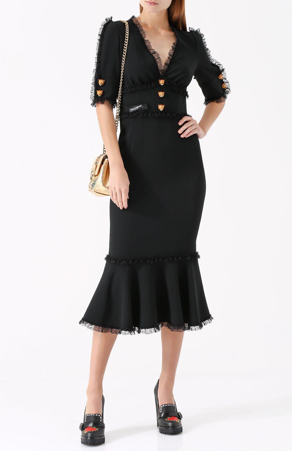 Кожаные туфли Edna с принтом и аппликациями Dolce & Gabbana черные   Фото №2