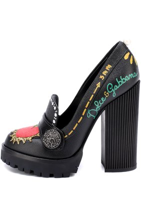 Кожаные туфли Edna с принтом и аппликациями Dolce & Gabbana черные   Фото №3