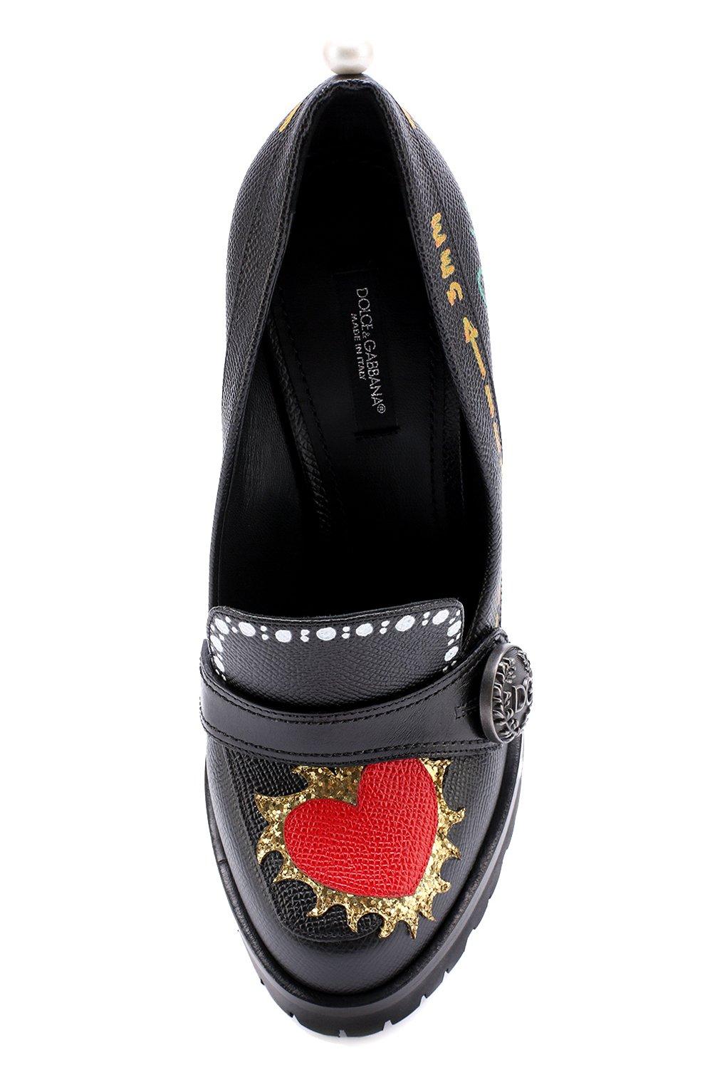 Кожаные туфли Edna с принтом и аппликациями Dolce & Gabbana черные   Фото №5