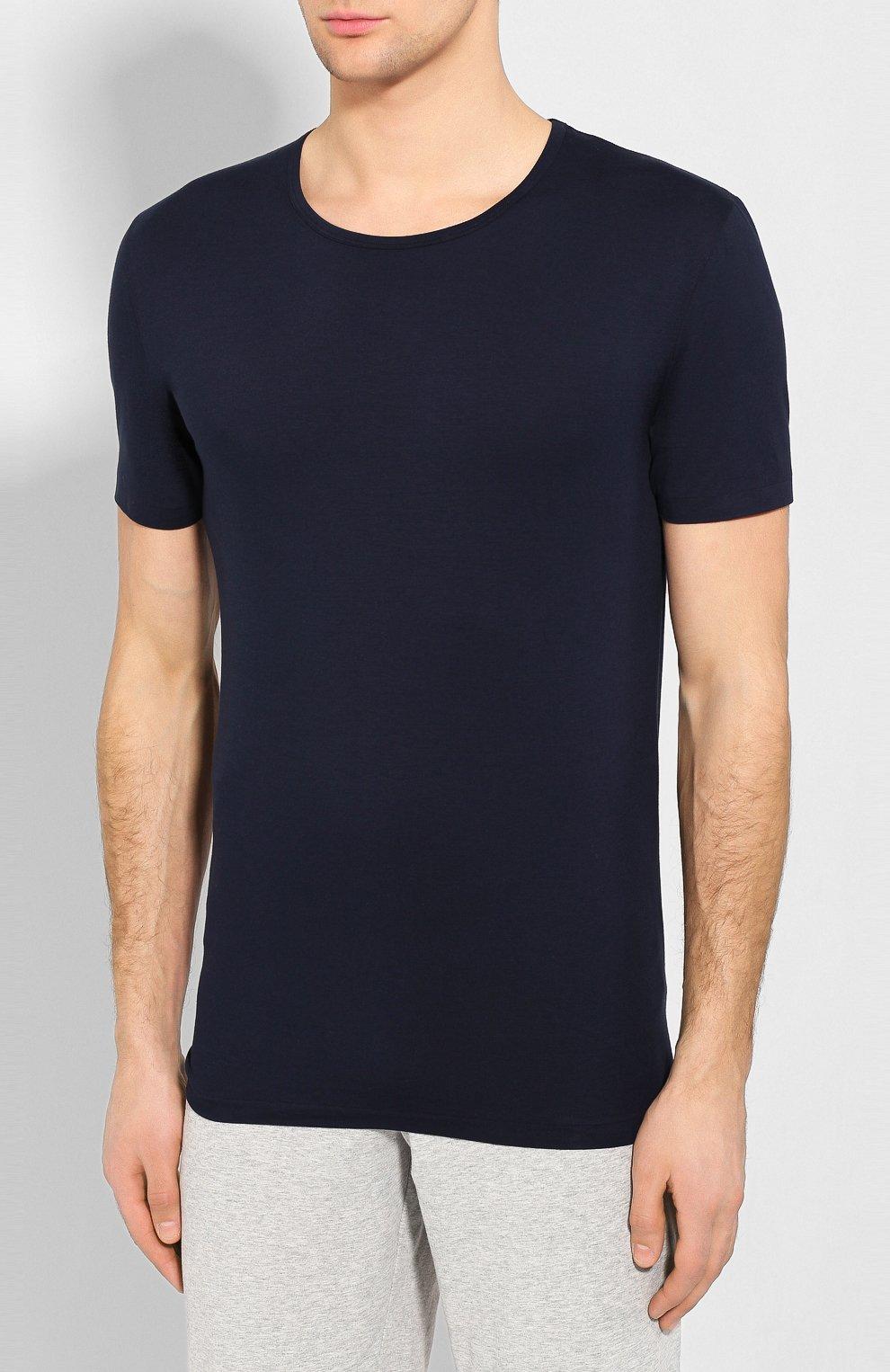 Мужская хлопковая футболка с круглым вырезом ZIMMERLI темно-синего цвета, арт. 172-1461 | Фото 3 (Кросс-КТ: домашняя одежда; Рукава: Короткие; Длина (для топов): Стандартные; Материал внешний: Хлопок; Мужское Кросс-КТ: Футболка-белье; Статус проверки: Проверена категория)