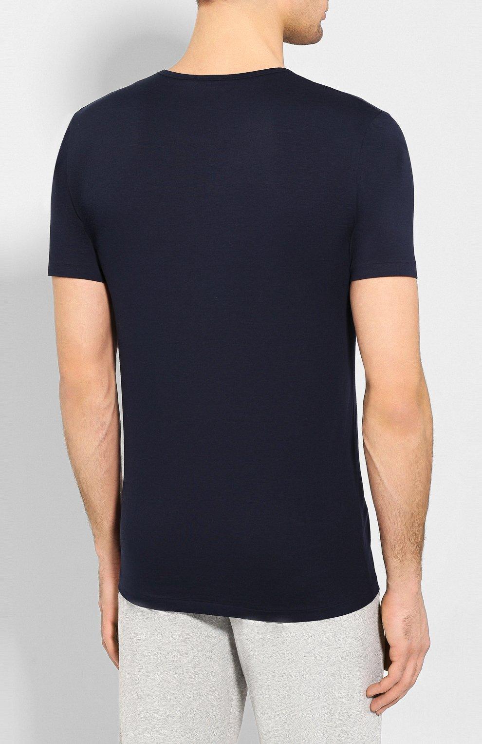 Мужская хлопковая футболка с круглым вырезом ZIMMERLI темно-синего цвета, арт. 172-1461 | Фото 4 (Кросс-КТ: домашняя одежда; Рукава: Короткие; Длина (для топов): Стандартные; Материал внешний: Хлопок; Мужское Кросс-КТ: Футболка-белье; Статус проверки: Проверена категория)