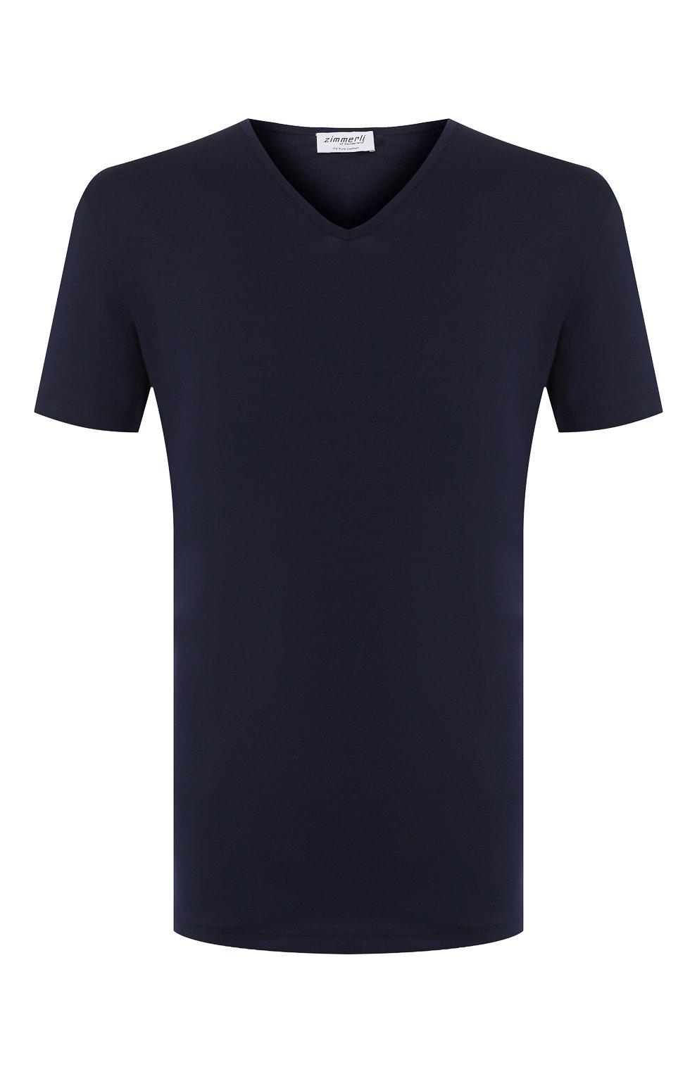Мужская хлопковая футболка с v-образным вырезом ZIMMERLI темно-синего цвета, арт. 172-1462 | Фото 1 (Кросс-КТ: домашняя одежда; Рукава: Короткие; Длина (для топов): Стандартные; Материал внешний: Хлопок; Мужское Кросс-КТ: Футболка-белье; Статус проверки: Проверена категория)