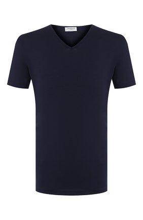Мужские хлопковая футболка с v-образным вырезом ZIMMERLI темно-синего цвета, арт. 172-1462 | Фото 1