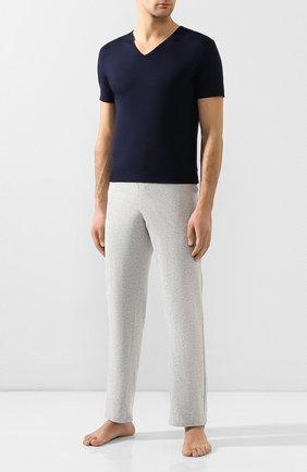 Мужские хлопковая футболка с v-образным вырезом ZIMMERLI темно-синего цвета, арт. 172-1462 | Фото 2