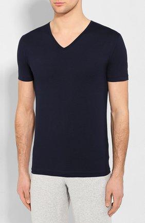 Мужская хлопковая футболка с v-образным вырезом ZIMMERLI темно-синего цвета, арт. 172-1462 | Фото 3 (Кросс-КТ: домашняя одежда; Рукава: Короткие; Длина (для топов): Стандартные; Материал внешний: Хлопок; Мужское Кросс-КТ: Футболка-белье; Статус проверки: Проверена категория)