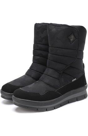 Текстильные утепленные сапоги Jog Dog черные | Фото №1